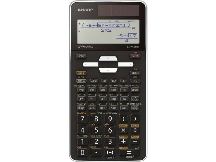 Schoolrekenmachine Sharp EL-W531TG Zwart Aantal displayposities: 16 werkt op zonne-energie, werkt op batterijen