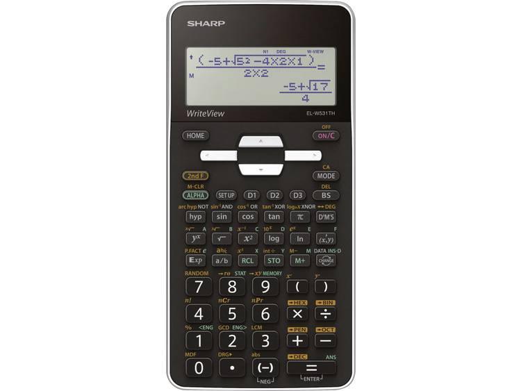 Schoolrekenmachine Sharp EL-W531TH Zwart Aantal displayposities: 16 werkt op batterijen