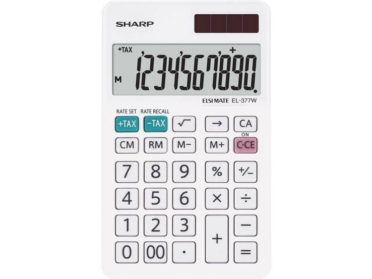 Bureaurekenmachine Sharp EL-377 W Wit Aantal displayposities: 10 werkt op zonne-energie, werkt op batterijen