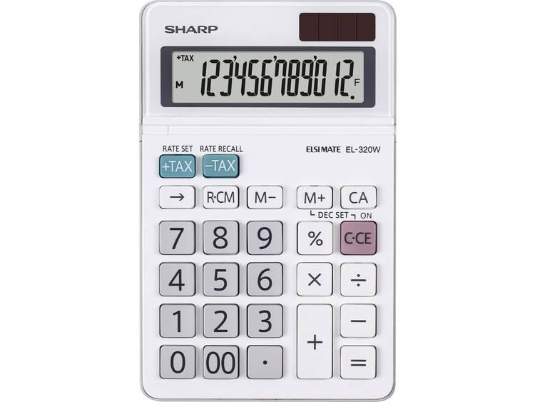 Bureaurekenmachine Sharp EL-320 W Wit Aantal displayposities: 12 werkt op zonne-energie, werkt op batterijen
