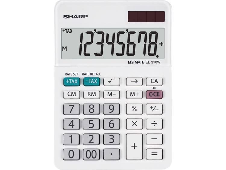 Bureaurekenmachine Sharp EL-310 W Wit Aantal displayposities: 8 werkt op zonne-energie, werkt op batterijen