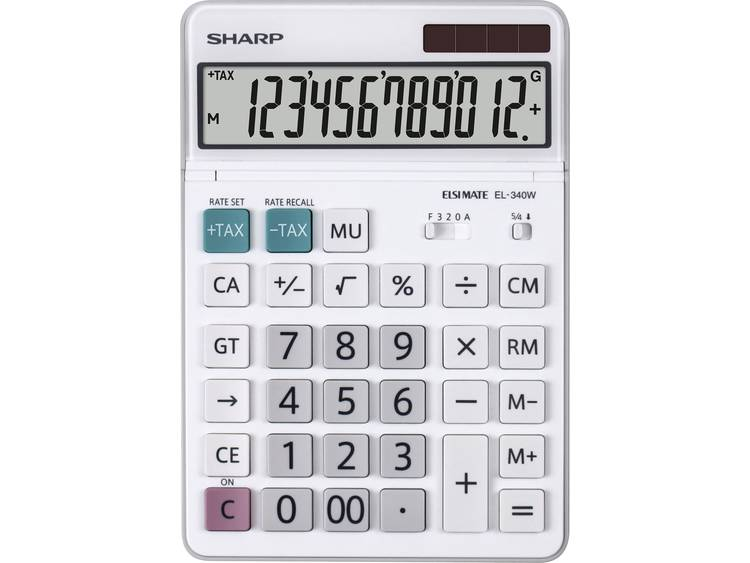 Bureaurekenmachine Sharp EL-340 W Wit Aantal displayposities: 12 werkt op zonne-energie, werkt op batterijen