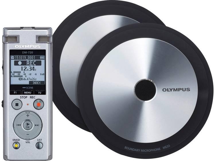 Digitaal dicteerapparaat Olympus DM-720 Meet & Record Kit Large Opnameduur (max.) 985 h Zilver incl. 2 grensvlakmicrofoons