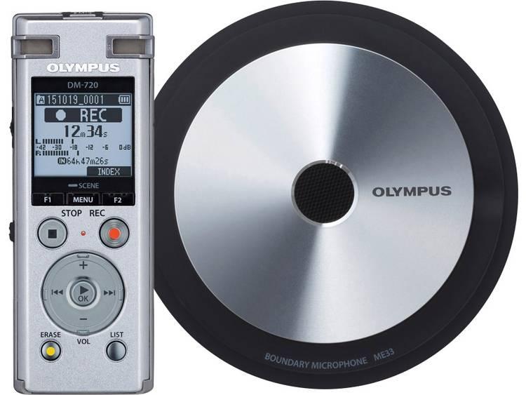 Digitaal dicteerapparaat Olympus DM-720 Meet & Record Kit Small Opnameduur (max.) 985 h Zilver incl. 1 grensvlakmicrofoon