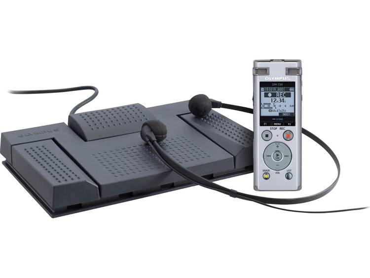 Digitaal dicteerapparaat Olympus DM-720 Record & Transcribe Kit Opnameduur (max.) 985 h Zilver incl. voetschakelaar, incl. stereo-headset, incl.