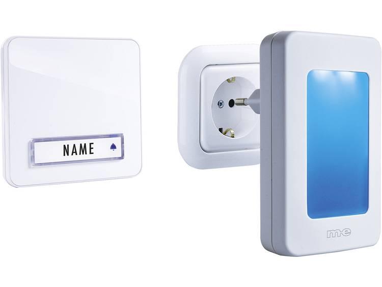 m-e modern-electronics 41146 Complete set voor Draadloze deurbel Met automatische nachtlamp, Met naambord