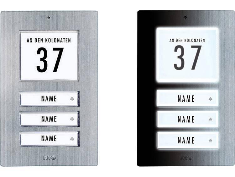 m-e modern-electronics 41067 Belplaat Verlicht, Met adresveld, Met naambord 3 gezinswoning RVS 12 V/1 A