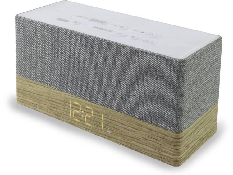SoundMaster UR620 FM Wekkerradio AUX, Bluetooth Accu laadfunctie Hout, Grijs