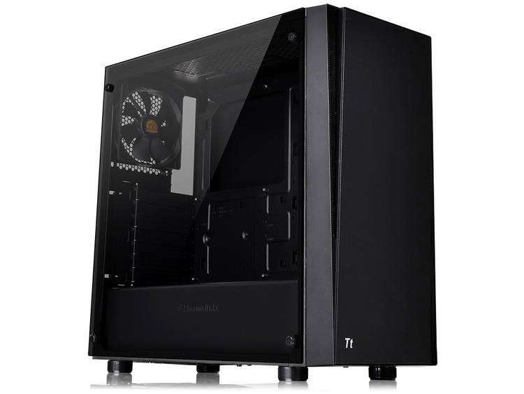 Midi-tower PC-behuizing Thermaltake Versa J21 TG Zwart 1 voorgeïnstalleerde ventilator, Geschikt voor AIO-waterkoeling, LCS-compatibel, Zijvenster, Harde