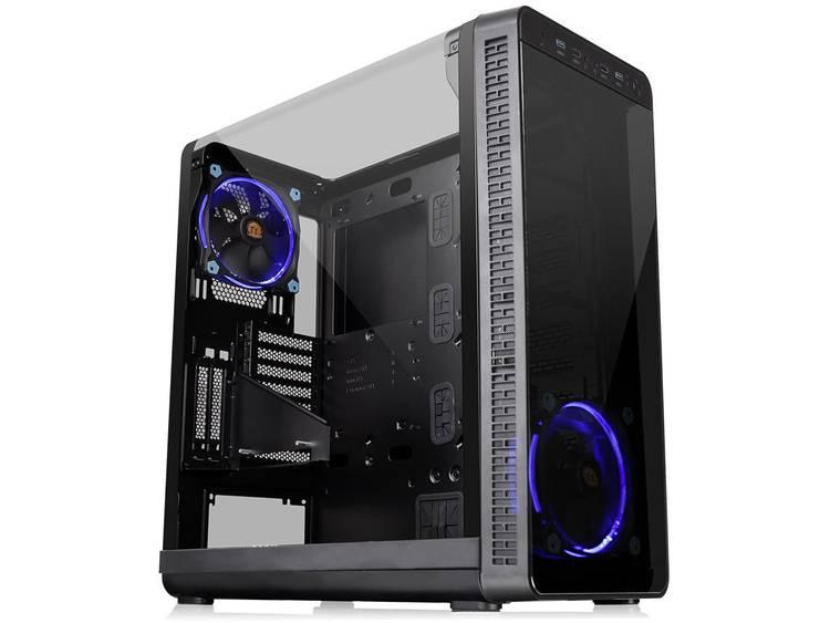 Midi-tower PC-behuizing Thermaltake View 37 Riing Edition Zwart 2 voorgeïnstalleerde LED-ventilators, Zijvenster, Stoffilter, LCS-compatibel, Geschikt voor