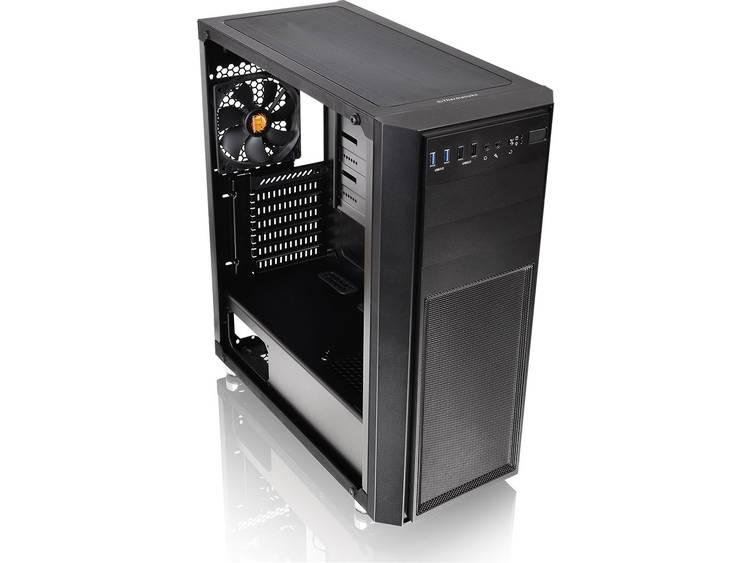 Midi-tower PC-behuizing Thermaltake Versa H26 TG Zwart 1 voorgeïnstalleerde LED-ventilator, Zijvenster, Geschikt voor AIO-waterkoeling