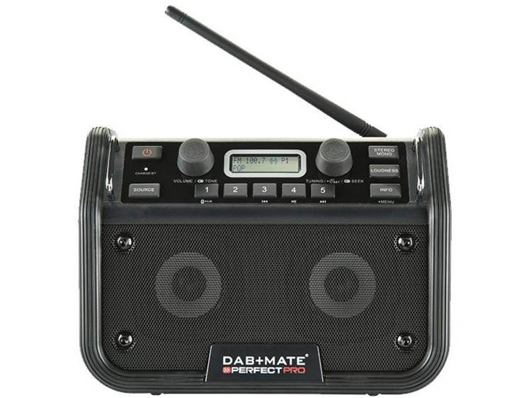 PerfectPro DAB+mate FM Bouwradio AUX, Bluetooth, FM Accu laadfunctie, Spatwaterb