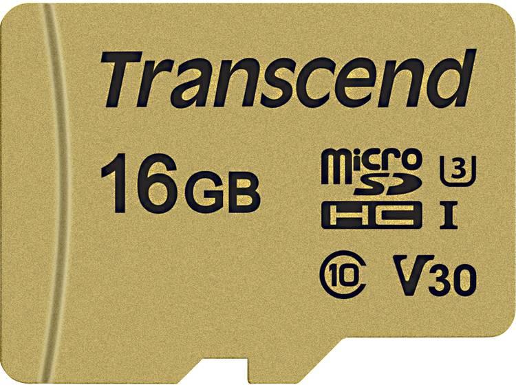 Transcend Premium 500S microSDHC-kaart 16 GB Class 10, UHS-I, UHS-Class 3, v30 Video Speed Class incl. SD-adapter