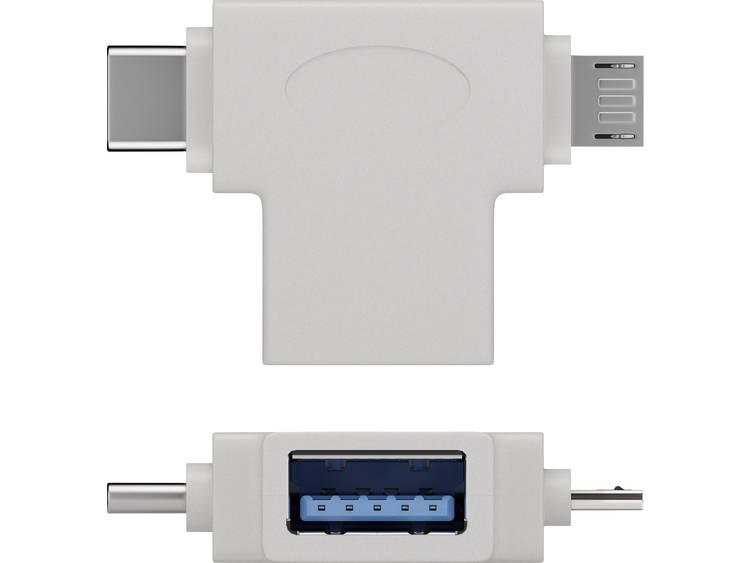Goobay USB T-adapter [1x USB 3.0 bus B - 2x Micro-USB 2.0 stekker B, USB-C stekker] T-Adapter USB-A auf USB 2.0 Micro-B, USB A 2.0, weiÃ