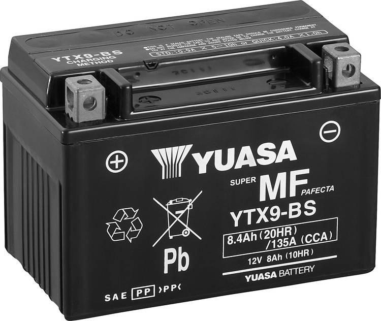 Image of Motoraccu Yuasa YTX9-BS 12 V 8 Ah Geschikt voor model Motorfietsen, Quads, Jetski, Sneeuwscooters