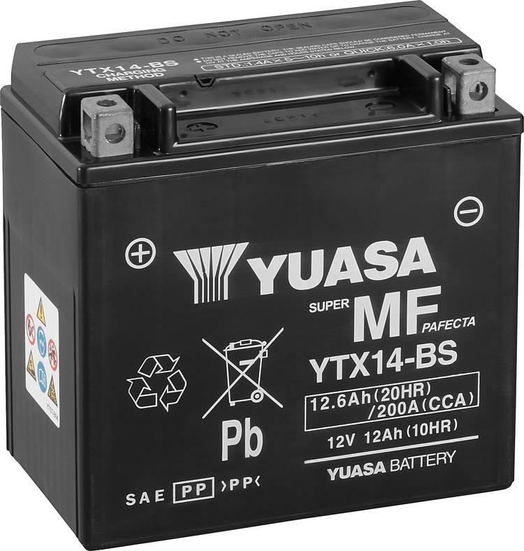 Image of Motoraccu Yuasa YTX14-BS 12 V 12 Ah Geschikt voor model Motorfietsen, Quads, Jetski, Sneeuwscooters