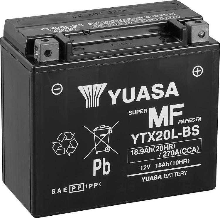 Image of Motoraccu Yuasa YTX20L-BS 12 V 18 Ah Geschikt voor model Motorfietsen, Quads, Jetski, Sneeuwscooters