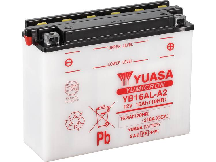 Motoraccu Yuasa YB16AL A2 12 V 16 Ah Geschikt voor Motorfietsen, Scooters, Quads, Jetski, Sneeuwscooters, Zitmaaiers