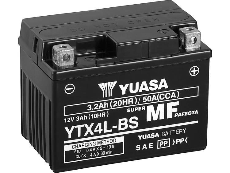 Motoraccu Yuasa YTX4L BS 12 V 3 Ah Geschikt voor Motorfietsen, Quads, Jetski, Sneeuwscooters