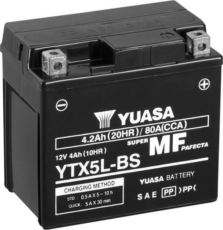 Image of Motoraccu Yuasa YTX5L-BS 12 V 4 Ah Geschikt voor model Motorfietsen, Quads, Jetski, Sneeuwscooters