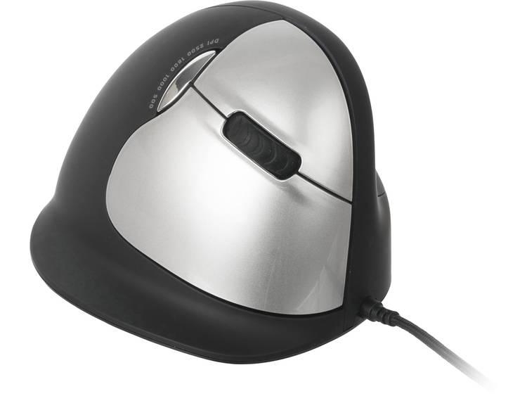 R-GO Tools RGOHELA USB muis Optisch Ergonomisch Zwart/zilver