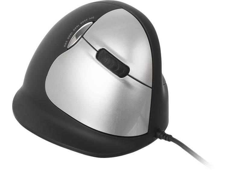 R-GO Tools RGOBRHESMR USB muis Optisch Ergonomisch Zwart/zilver