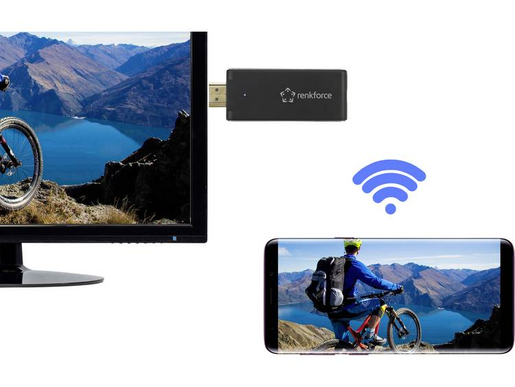 Renkforce renkCast 3 HDMI streaming stick AirPlay, Miracast, DLNA, Externe antenne
