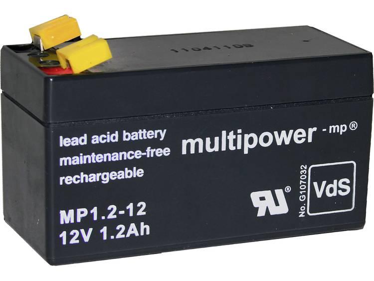 multipower PB-12-1,2-4,8 Loodaccu 12 V 1.2 Ah Loodvlies (AGM) (b x h x d) 97 x 59 x 43 mm Kabelschoen 4.8 mm Onderhoudsvrij, Geringe zelfontlading,