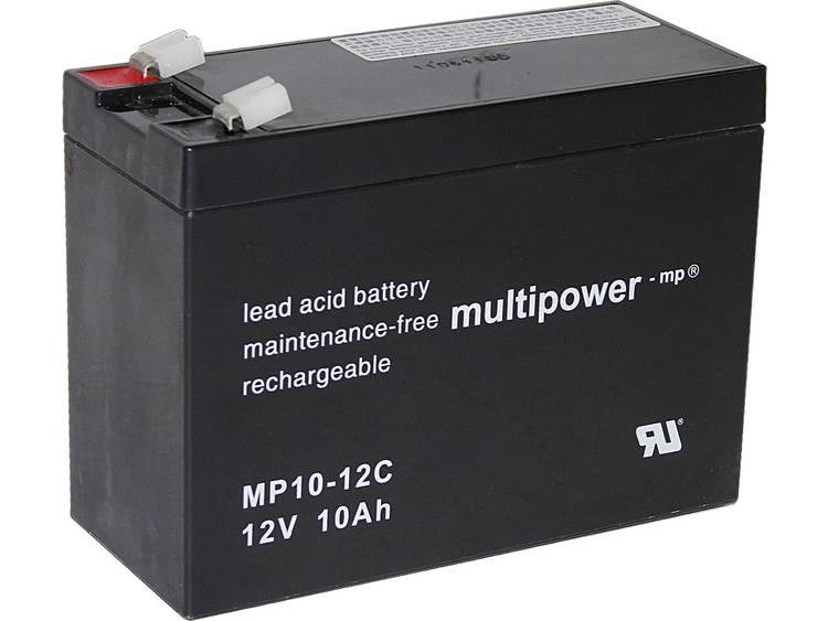 multipower PB-12-10-6,35 Loodaccu 12 V 10 Ah Loodvlies (AGM) (b x h x d) 151 x 118.5 x 65 mm Kabelschoen 6.35 mm Cyclusbestendig, Onderhoudsvrij, Geringe