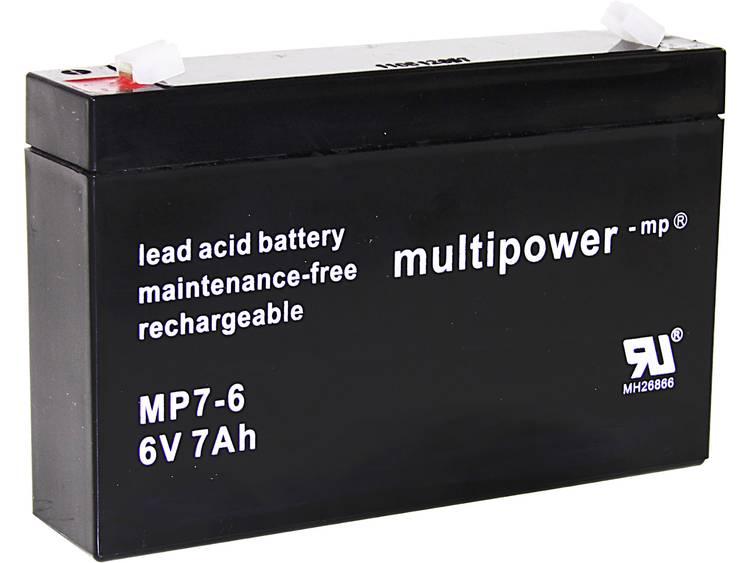 multipower PB-6-7-4,8 Loodaccu 6 V 7 Ah Loodvlies (AGM) (b x h x d) 151 x 100 x 34 mm Kabelschoen 4.8 mm Onderhoudsvrij, Geringe zelfontlading