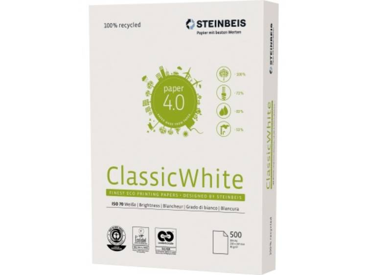 STEINBEIS Classic White Gerecycled printpapier DIN A4 500 vellen Wit