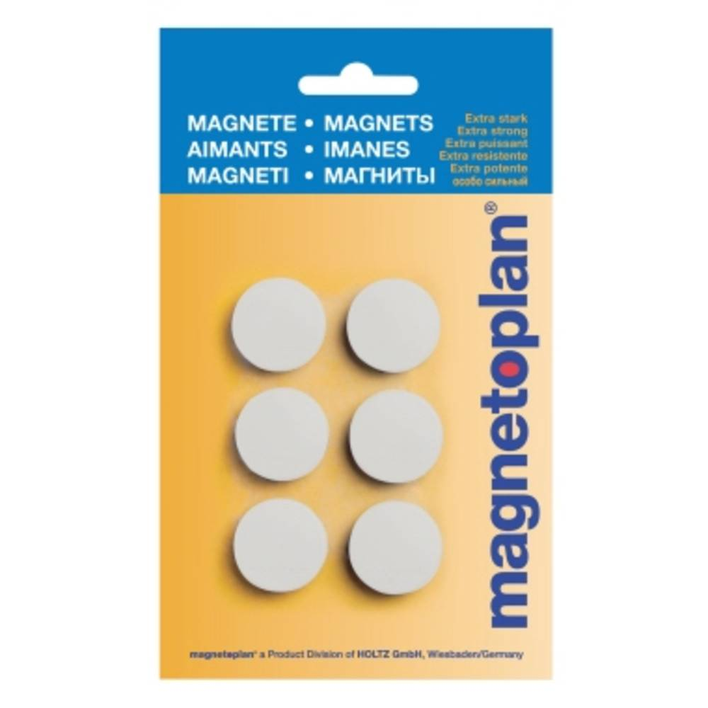 Magnetoplan Magnet Discofix Hobby (Ø x H) 25 mm x 8 mm rund Vit 6 st 16645600