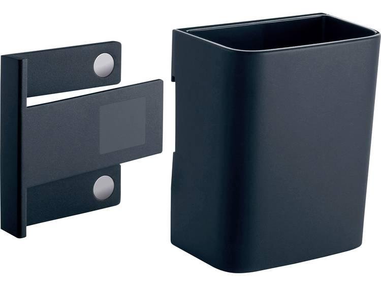 Sigel stiftenkoker S GL801, antraciet, inclusief magnetische clip voor bevestiging aan glazen magneetborden, kunststof, 75 x 94 x 51 mm