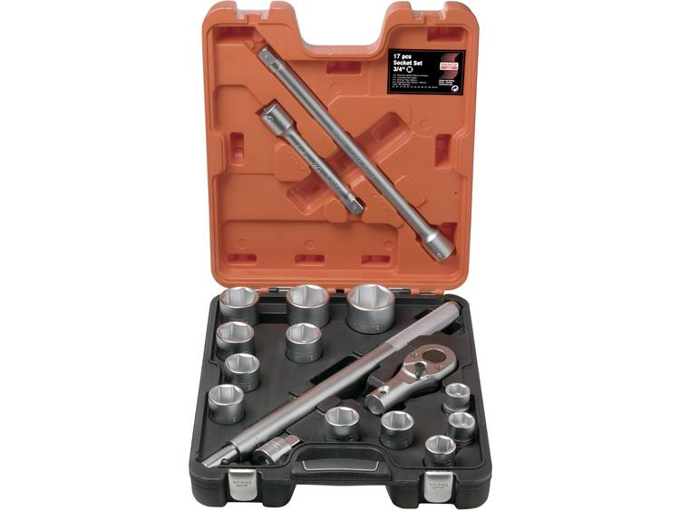 Socket set Bahco 17 stuks 3-4(19 mm)