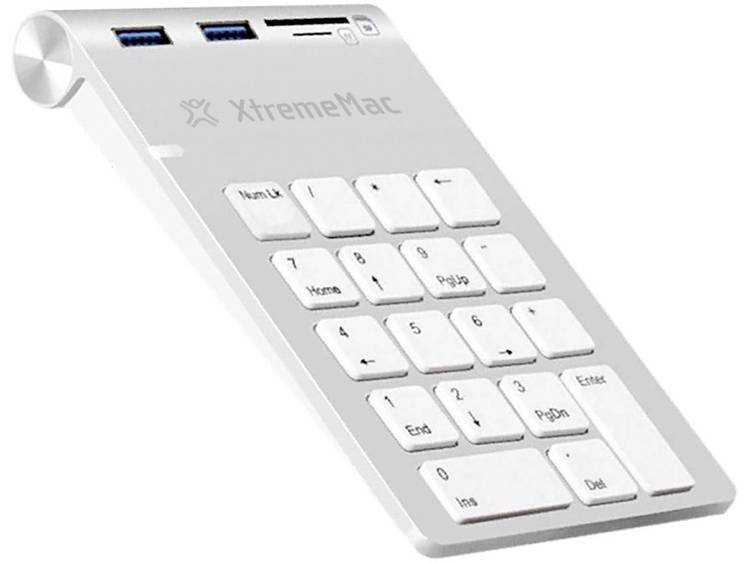 XtremeMAC XM-NPHUB32-CR-SLV USB numeriek toetsenbord USB-aansluiting, Audio-aansluiting Zilver/wit