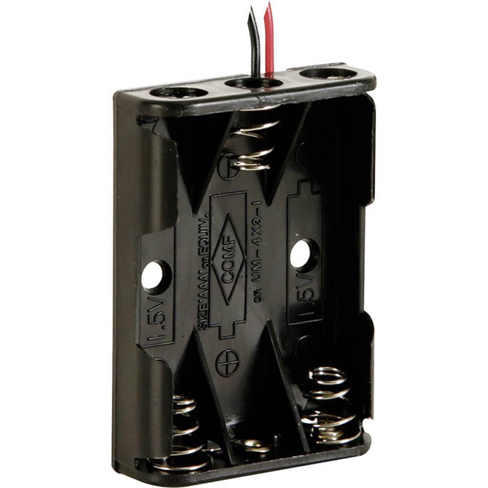 Velleman BH431A Batterihållare 3x AAA (R03) Kabel (L x B x H) 53 x 38 x 13 mm