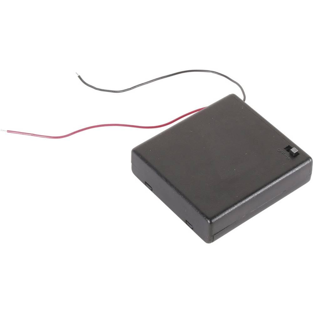 Velleman BH341BSAA Batterihållare 4x AA (R6) Kabel (L x B x H) 70 x 65 x 19 mm