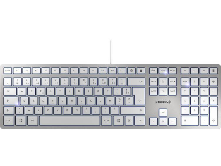 CHERRY KC6000 Slim USB toetsenbord AZERTY, Frans Zilver