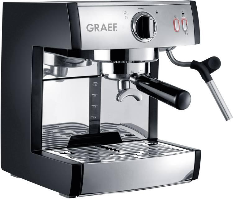 Espressomachine Graef ES702EU01 RVS. Zwart 1410 W met drukzetsysteem. met melkopschuimer. met melkreservoir