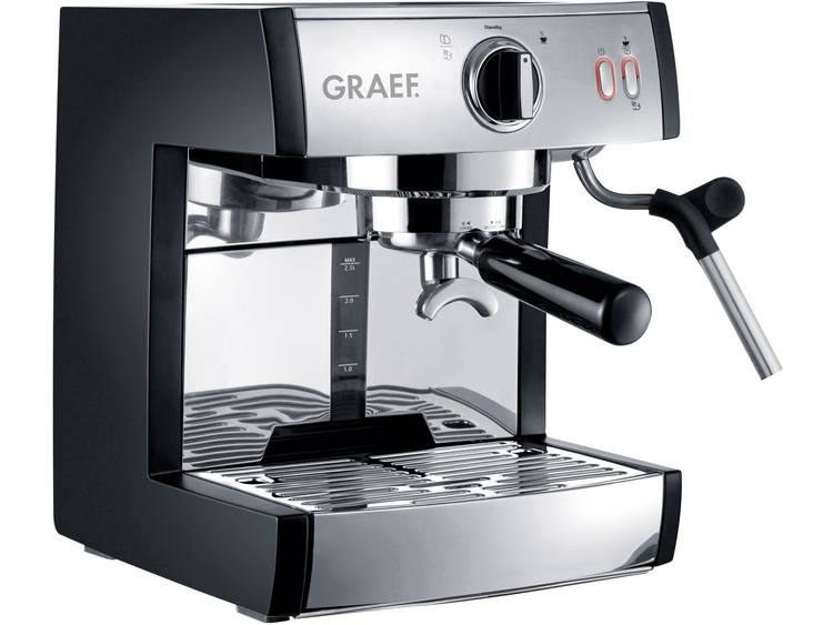 Espressomachine Graef ES702EU01 RVS, Zwart 1410 W met drukzetsysteem, met melkopschuimer, met melkreservoir - Prijsvergelijk