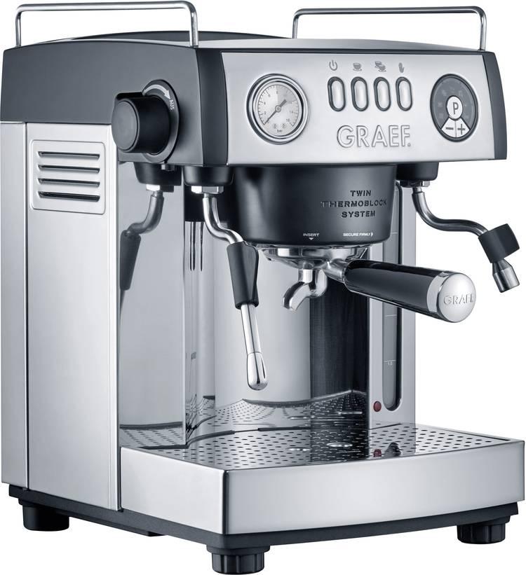 Espressomachine Graef ES902EU RVS. Zwart 2515 W met melkopschuimer