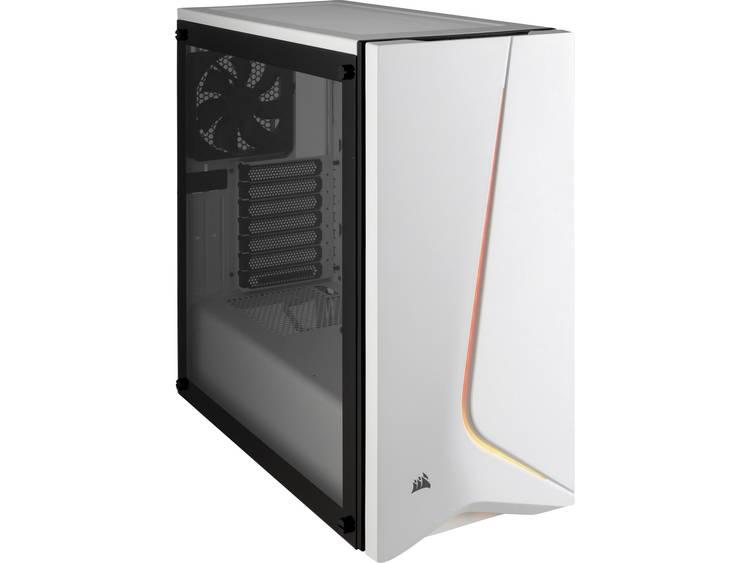 Midi-tower PC-behuizing Corsair Spec-06 Tempered Glass RGB Wit, RGB 2 voorgeïnstalleerde ventilators, Geïntegreerde verlichting, Zijvenster, Stoffilter