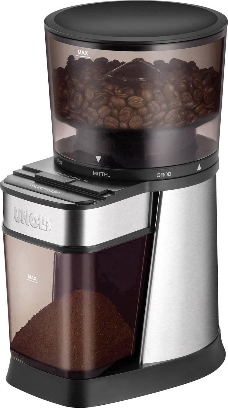 Koffiemolen Unold 28915 Zilver. Zwart 28915 Stalen kegelmaalwerk