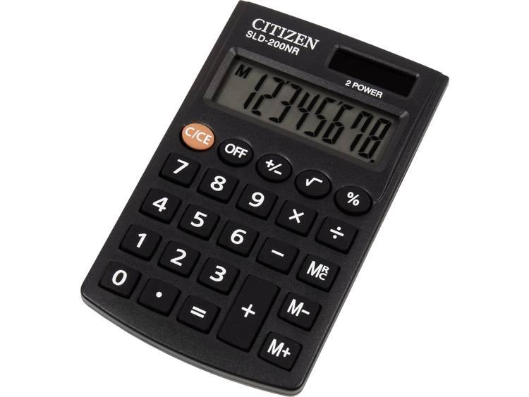 Zakrekenmachine Citizen Office SLD-200NR Zwart Aantal displayposities: 8 werkt op zonne-energie, werkt op batterijen
