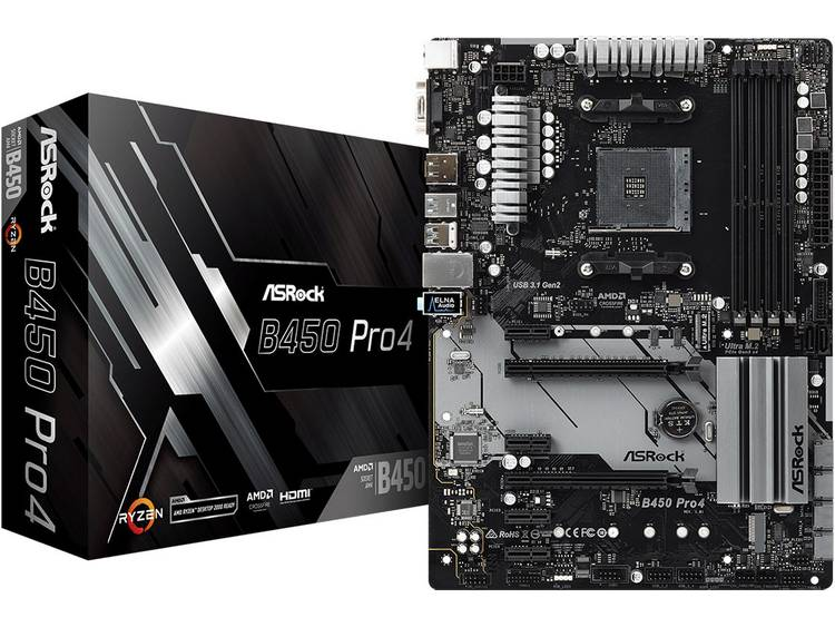 ASRock B450 Pro4 Moederbord Socket AMD AM4 Vormfactor ATX Moederbord chipset AMD® B450