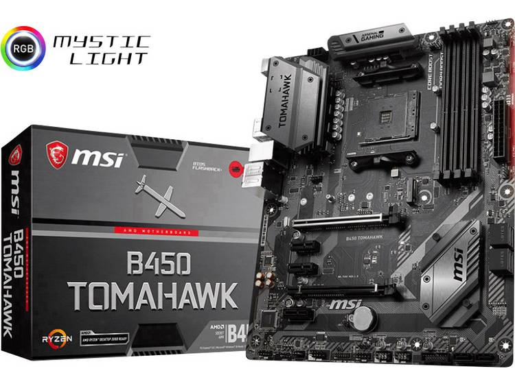 MSI Gaming B450 Tomahawk Moederbord Socket AMD AM4 Vormfactor ATX Moederbord chipset AMD® B450