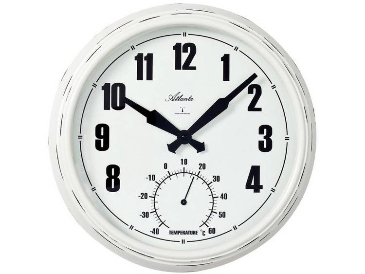 Atlanta Uhren 4478 Wandklok Zendergestuurd 305 mm x 50 mm Wit