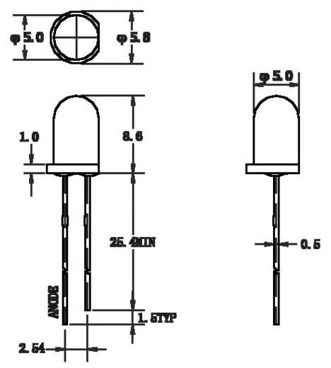 Thomsen LED-5-18000W LED bedraad Wit Rond 5 mm 18000 mcd 22 ° 20 mA 3.6 V 1 stuks