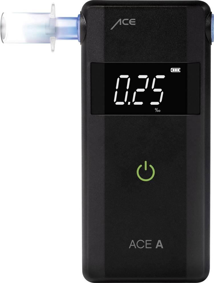 ACE A Alcoholtester Zwart 0 tot 4 ‰ Weergave van verschillende eenheden. Alarm. Incl. display. Countdown-functie
