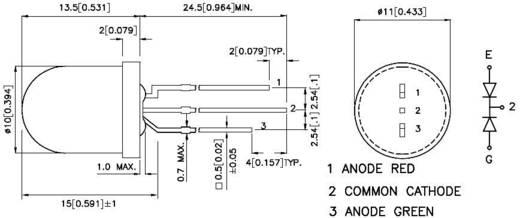 Kingbright L-819EGW LED meerkleurig Rood, Groen Rond 10 mm 80 mcd, 50 mcd 50 ° 20 mA 2 V, 2.2 V